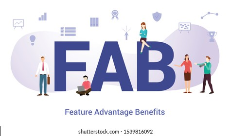 fab feature advantage benefits concept with big word or text and team people with modern flat style - vector