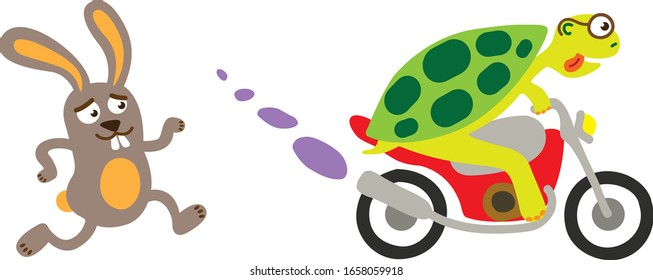 A fable about a hare and a turtle. The turtle is ultimately faster than a hare.