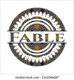 Fable arabesque emblem background. arabic decoration.