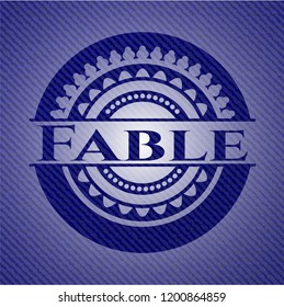Fable badge with denim background