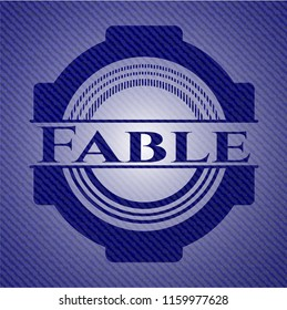 Fable badge with denim texture