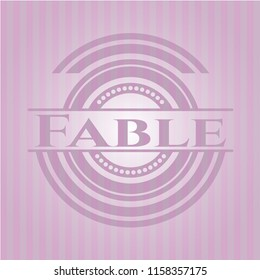 Fable badge with pink background