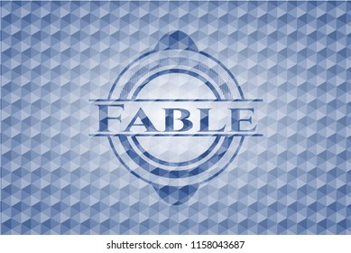 Fable blue badge with geometric background.