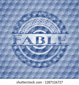 Fable blue emblem with geometric pattern background.