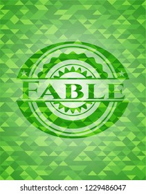 Fable green emblem with mosaic ecological style background