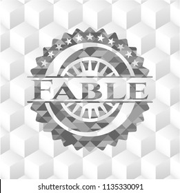 Fable grey badge with geometric cube white background