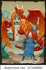 Fable illustration with dragon, medieval castle, princess and knight. Vector illustration, vertical.