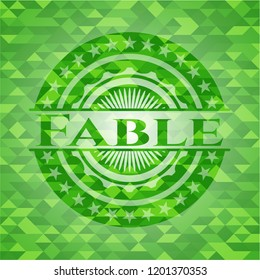 Fable realistic green emblem. Mosaic background