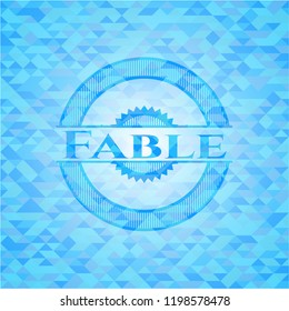 Fable sky blue emblem with triangle mosaic background