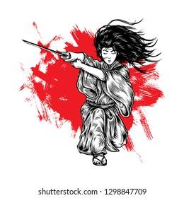 Fabolous Long Hair Samurai Ronin Attacking With His Katana, Hand Drawn Illustration, Isolated Vector