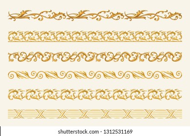 Fabric and baroque Fashion design element, leafs, Golden Chains, braid, necklace, Gold ornament for print, scarfs, backgrounds, seamless pattern design - Vector