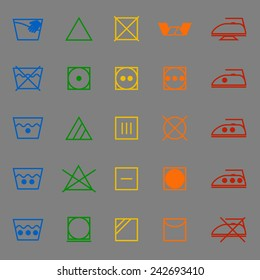 Fabric care sign and symbol color icons, stock vector