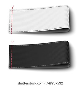 Fabric elegant label tags template in black and white colors isolated on background. Vector illustration.