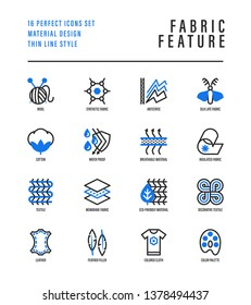 Fabric feather thin line icons set. Symbols of wool, synthetic, silk, antistatic, waterproof, leather, feather filler, eco-friendly, breatheable material. Vector illustration.
