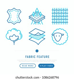 Fabric feature thin line icons set: leather, textile, cotton, wool, waterproof, breathable material. Modern vector illustration.