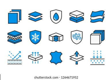 Fabric layered materials color line icons. Material structure vector linear colorful icon set. Isolated icon collection on white background.