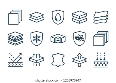 Fabric layered materials related line icon set. Vector illustration.
