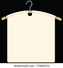 Fabric on garment hanger as background for design. Vector illustration.