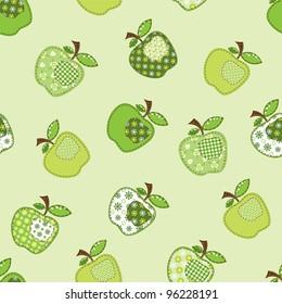fabric patchwork green apple tree