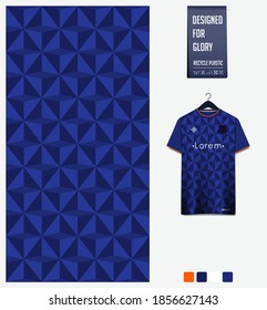 Fabric pattern design. Geometric pattern on blue background for soccer jersey, football kit, bicycle, e-sport, basketball, sports uniform, t-shirt mockup template. Abstract sport background. Vector.