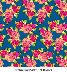 a fabric pattern featuring bright roses against a dark blue background
