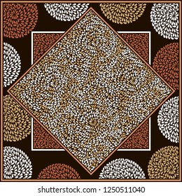 Fabric Print, Scarf, Shawl, Carpet, Kerchief, Bandana, Handkerchief, Square Pattern Design, Textile Fashion African Print, vector illustration file.