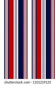 Fabric retro color style seamless stripe pattern.stripe pattern with blue,red and white vertical parallel.abstract background.