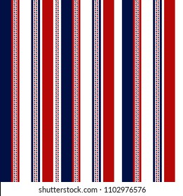 Fabric retro color style seamless stripe pattern with blue,red and white vertical parallel stripe.abstract background.