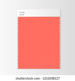 Fabric sample, textile swatch template for interior design mood board with Living Coral 2019 Color of the year. Trendy color palette, red piece of fabric. Vector illustration for advertising
