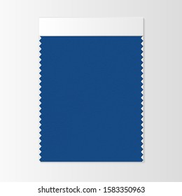 Fabric sample, textile swatch template for interior design mood board with Classic Blue 2020 Color of the year. Trendy color palette, vibrant piece of fabric. Vector illustration for advertising