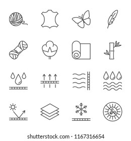 Fabric set of vector icons outline style
