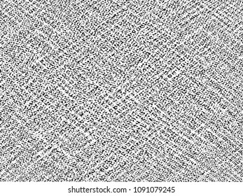 Fabric texture. Cloth knitted, cotton, wool background. Vector background. Grunge rough dirty background. Brushed black paint cover. Renovate wall frame grimy backdrop. Empty