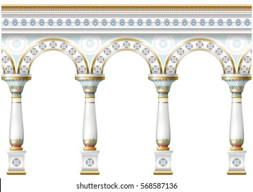 Fabulous ancient arch facade in the east or the ancient Russian style with gold, mosaic, white enamel. Vector graphics