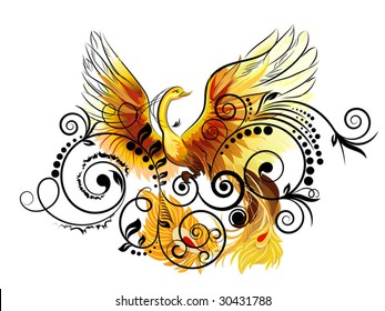Fabulous bird Phoenix sitting on decorative flower bush.
