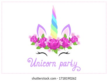 "Fabulous cute unicorn with beautiful roses flowers wreath on white background with handwritten invitation text ""Unicorn party"""