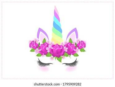 Fabulous cute unicorn with beautiful roses flowers wreath and rainbow horn on white background