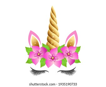 Fabulous cute unicorn with golden sparkle horn and pink flowers wreath isolated on white background. Fairy unicorn princess girl for party invitation design or holiday decor.