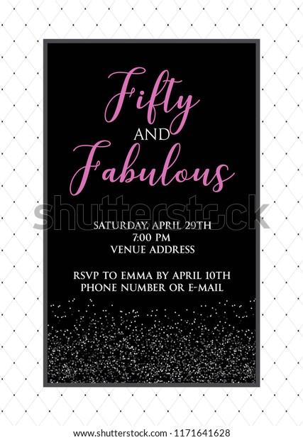 Fabulous Fifty Birthday Party Vector Printable Invitation Card With Glitter Elements