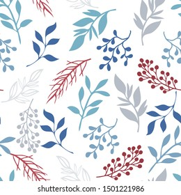 Fabulous flowers. Vector seamless pattern. Stylized illustration of flowers and leaves.
