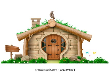 Fabulous forest hut . A little house of stones and logs. Eco architecture. Vector graphic concept