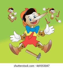 Fabulous hero Pinocchio; Wooden toy to take apart vector