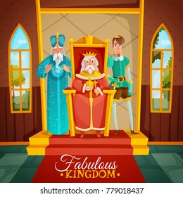 Fabulous kingdom colorful cartoon vector illustration with king sitting on throne wizard and prince figurines standing near monarch