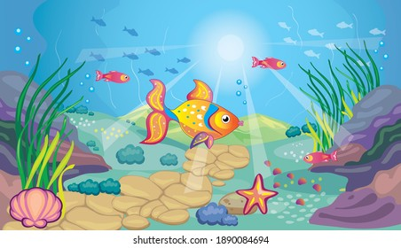 Fabulous landscape with sea bottom. Ocean background for wallpaper. Golden fish. Children's cartoon illustration for print. Fairy tale. Aquarium with gold fish. Vector.