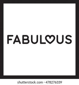 Fabulous poster vector black white background heart shape