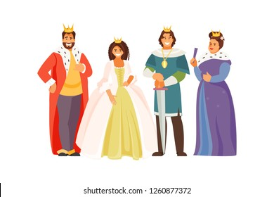 Fabulous Royal family. Vector characters in historical costumes. King, Queen, Prince and Princess on white background