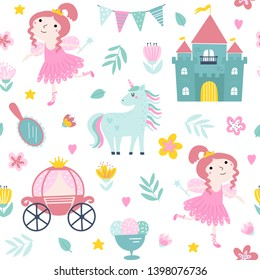 Fabulous seamless pattern with princess, castle and unicorn in cartoon style on a white background. Lovely texture for fabric, wrapping, textile, wallpaper and apparel for girls in vector.