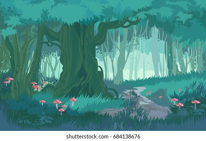 Fabulous shades of blue dusk forest jungle vector background forest with toadstool and mushrooms