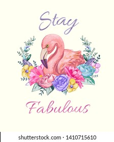 fabulous slogan with flamingo in flower wreath illustration