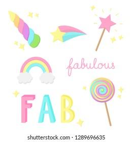 Fabulous, sparkling, magic, rainbow hand drawn doodle vector illustrations set. Unicorn horn, rainbow, magic wand, comet star, sweet lollipop and fabulous writings, isolated.