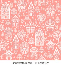 Fabulous white silhouettes of houses with ornaments. Decorative seamless background on pink background. folk art. Scandinavian style.
